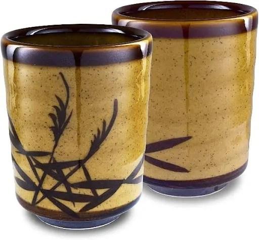 Mino Ware Traditional Yunomi Reed Motif Kincha Nagashi Design - Wood coloring with reed design