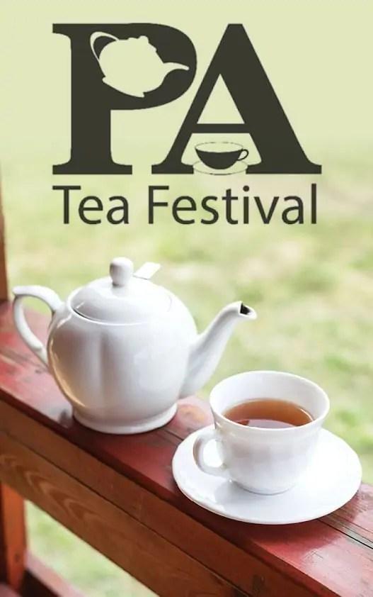 Teapot and teacup on a saucer on a ledge, with the text 'PA Tea Festival'
