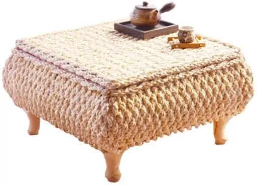 Low-Profile Handmade Straw Tea Table