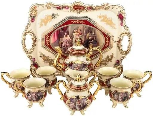 10-piece Porcelain Tea Set, Red Accents
