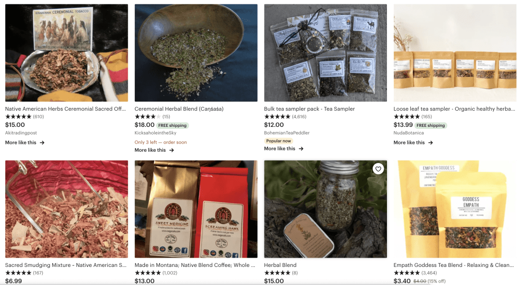 Etsy Screenshot of the search for Native American Tea