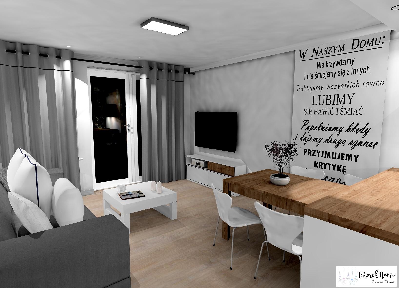 Salon z kuchnią w stylu industrialnym