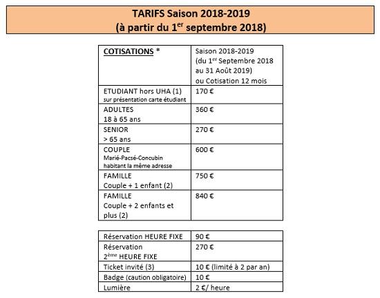 Tarifs - 1