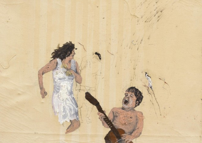 Dialogismos mixurucas nº58, o´leo sobre tela, 45 x 32 x 4 cm , 2014