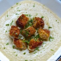 Cauliflower Cream with Garlic-Asiago Croutons