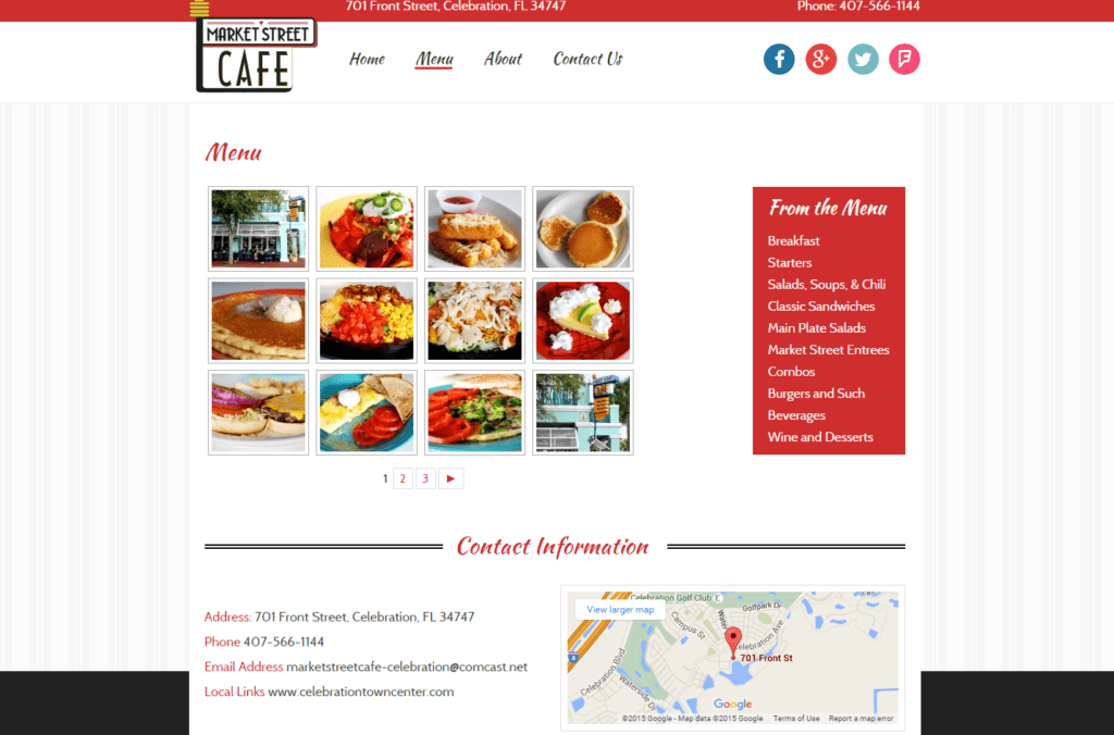 Market Street Cafe Celebration Florida Restaurant   Menu