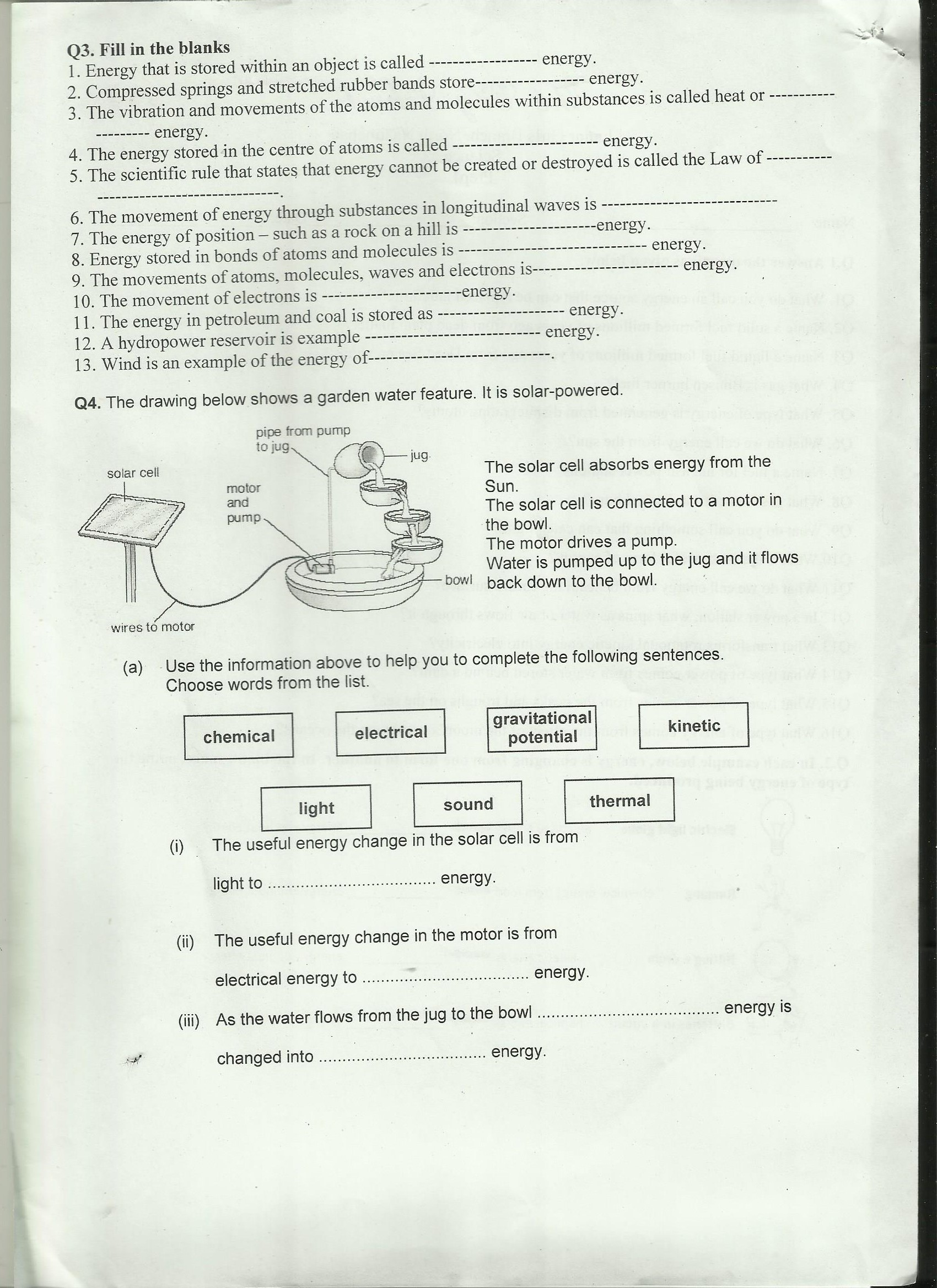 Grade 8 Science Worksheet