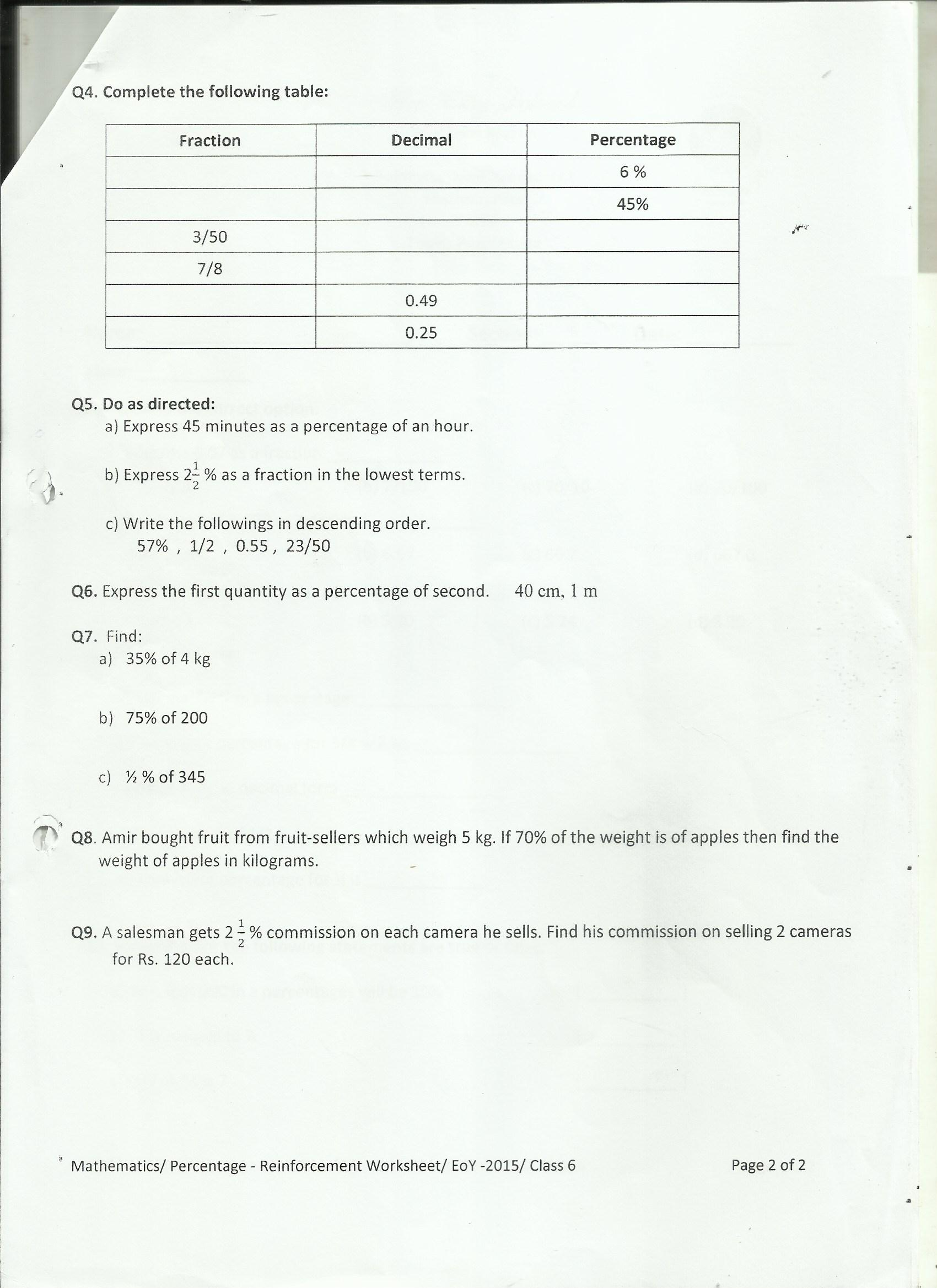 Percentage Worksheet 3