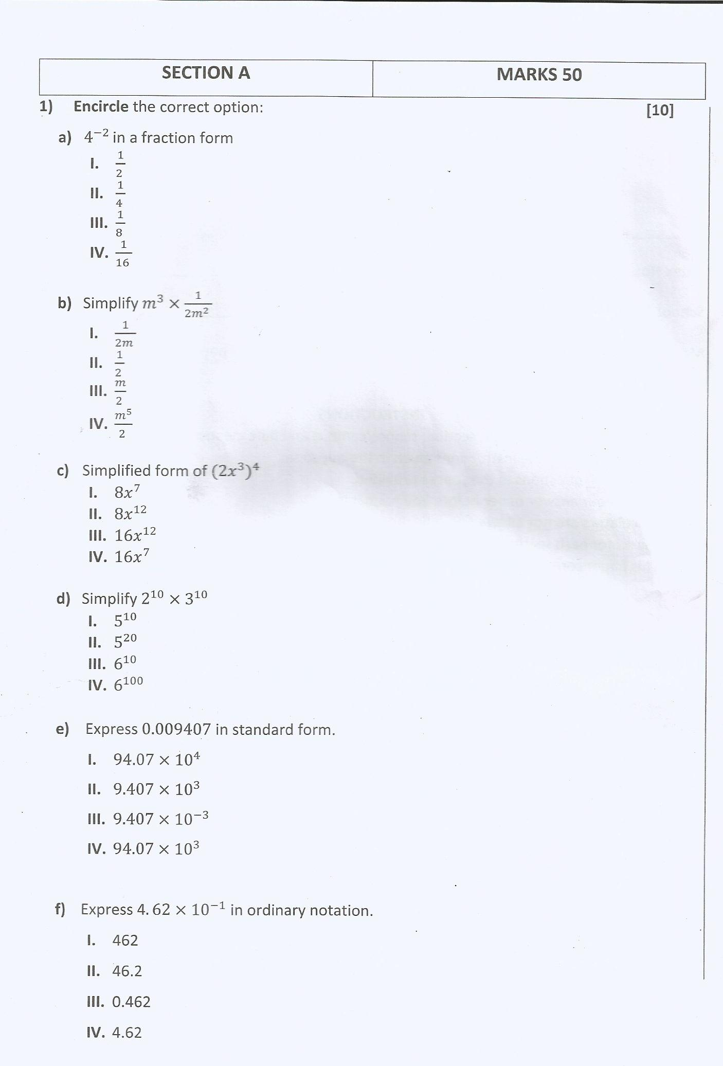Mathematics Past Paper (Grade