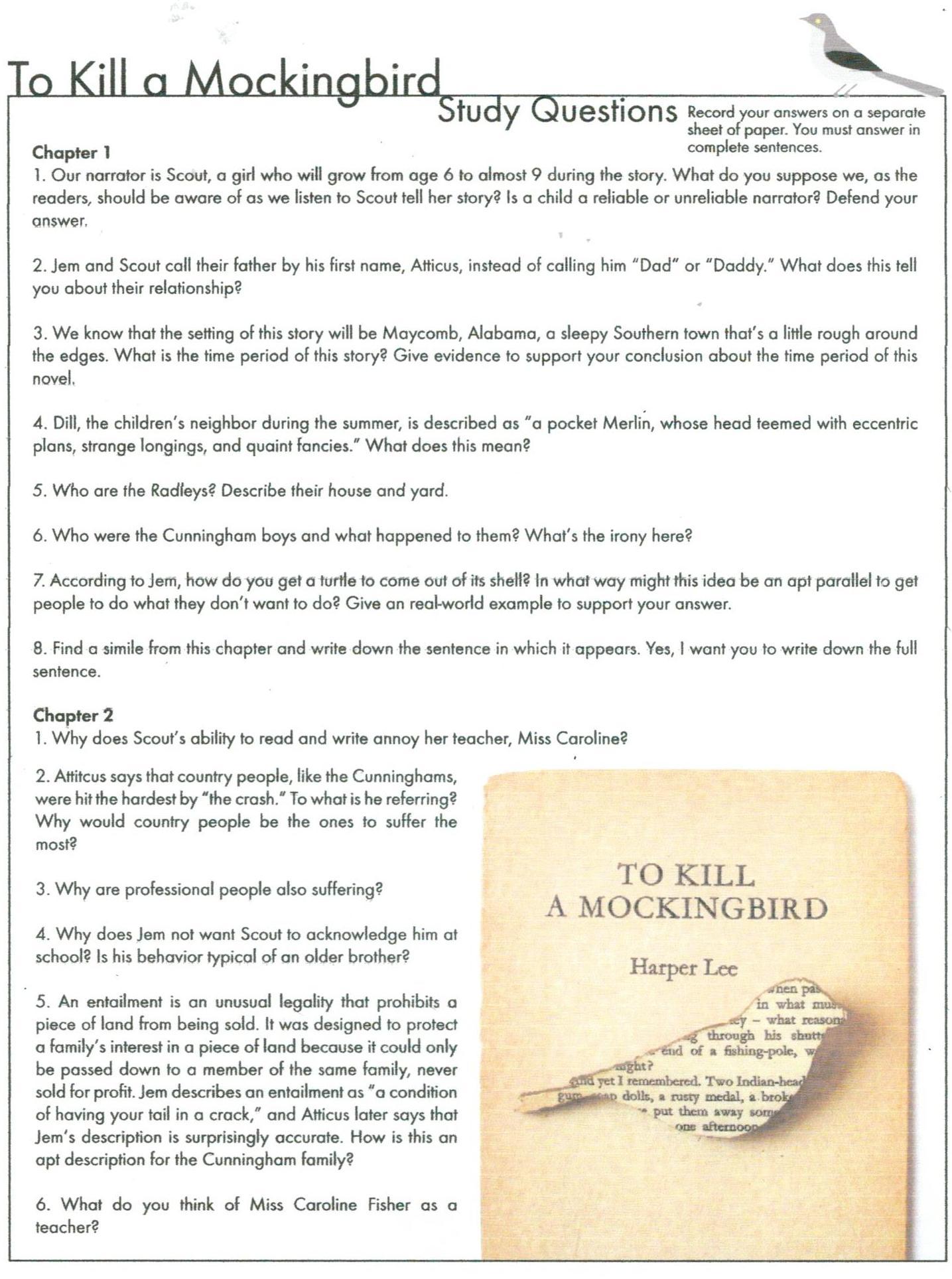 To Kill A Mockingbird Tkam Answers To Kill A Mockingbird To Kill A Mockingbird Character List
