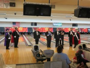 Folding Of The Flag Ceremony By The Knights Of Colunbus At Bowling Event
