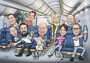 plane_group_caricature_cartoon_portrait