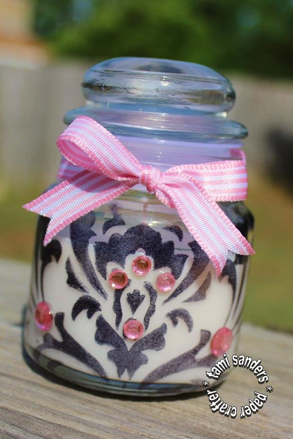 stenciled candle -use-  tcw,the crafter's workshop, inked candle,damask candle, candle favor, wedding favor, shower favor,tami sanders - shwm