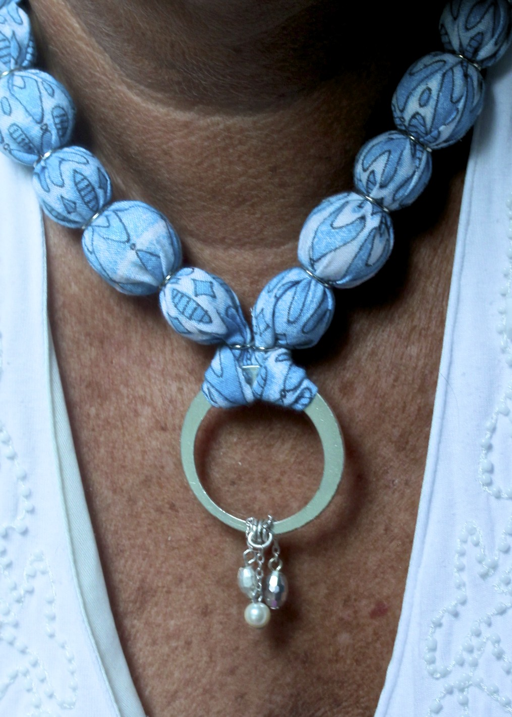 Fabric Covered Bead Necklace/ Sue Carroll