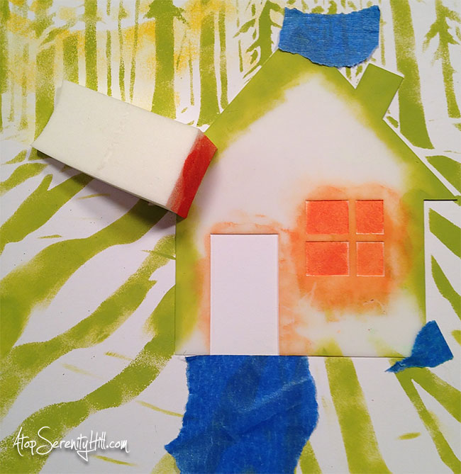 Consie Sindet • layering stencils to create a scene on a greeting card • TheCrafter's Workshop