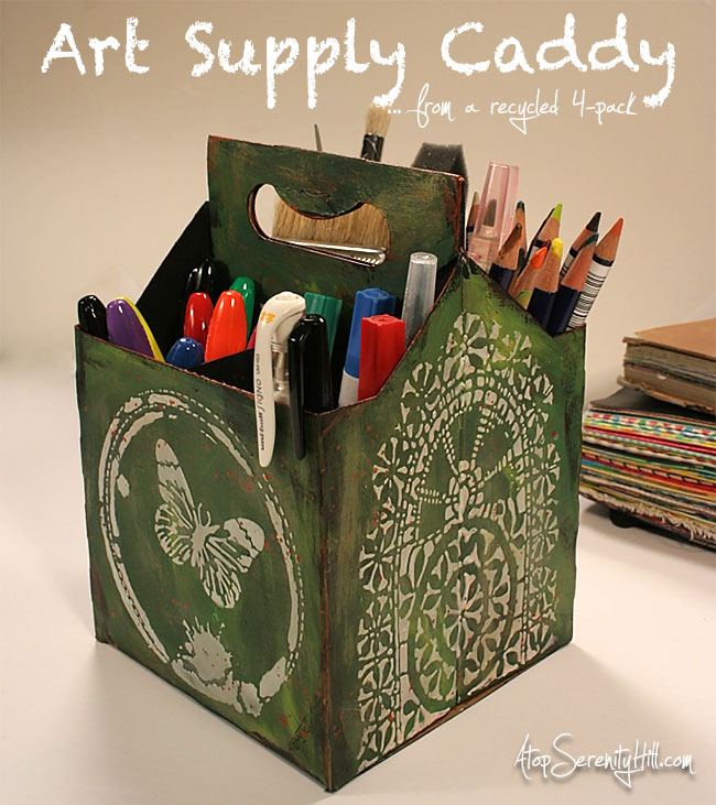 Art supply caddy made from a recycled 4-pack using stencils from The Crafter's Workshop • AtopSerenityHill.com #artsupplies #organizing #stencils