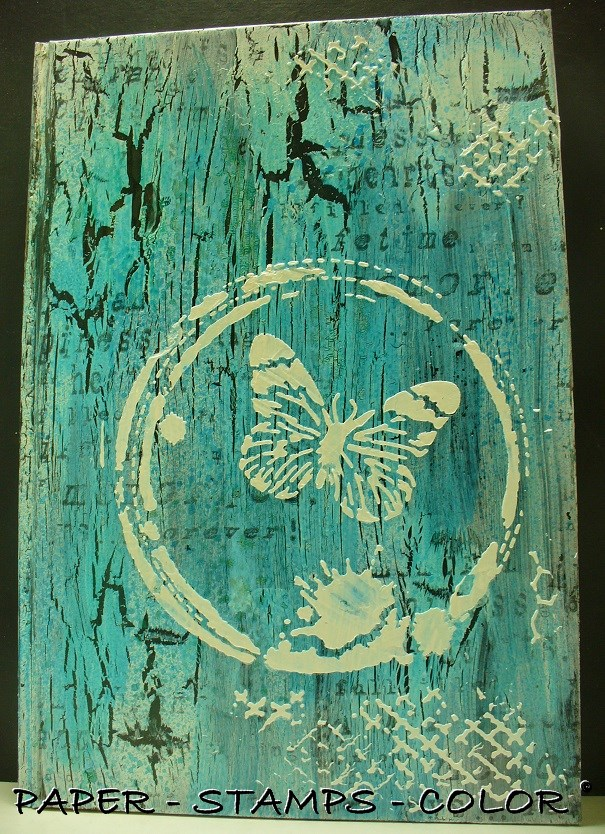 TCW boek blauwbruin crackle stencil vlinder (7)