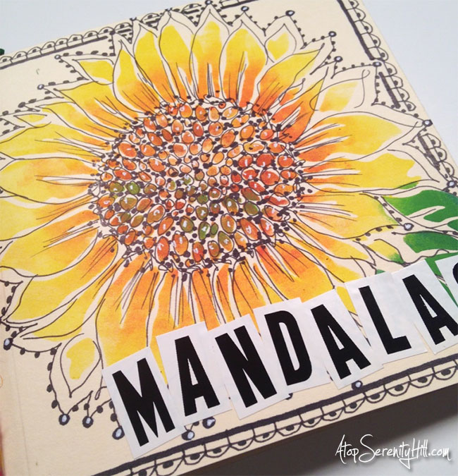How to make a mandala art journal to use during the #InkTober challenge using stencils from The Crafter's Workshop • AtopSerenityHill.com #artjournal #mandala #inktober