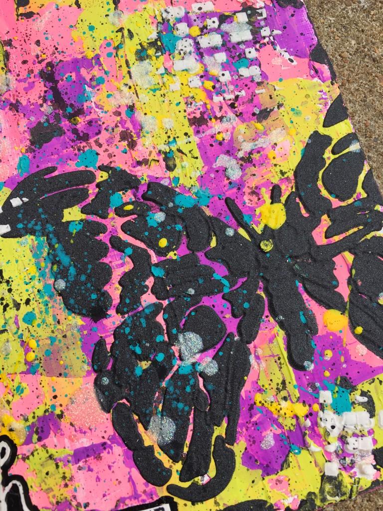 Graphite Paste through Graceful Moths Stencil