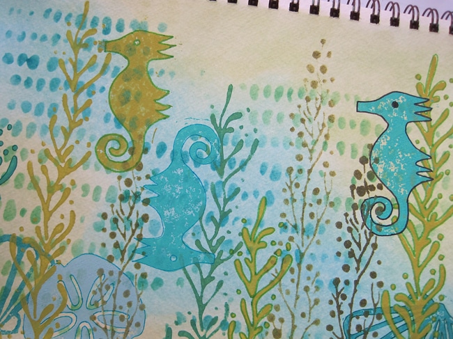 TCW stencils and hand-carved stamps create an underwater jungle