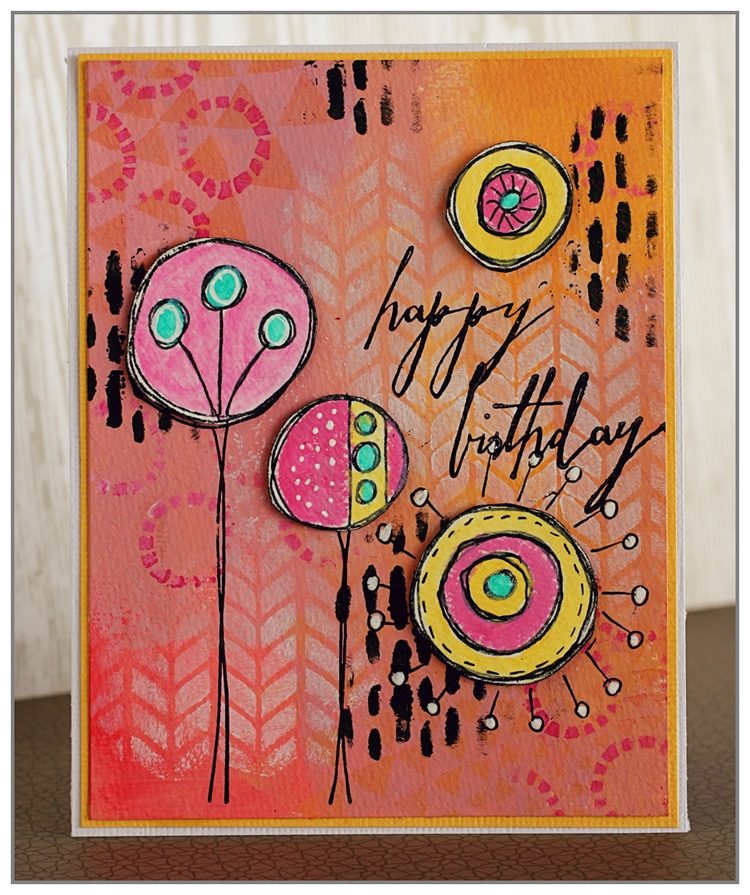 Yasmina Tinsang Acrylic Birthday Card with TCW Stencils