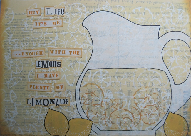 Lefko finished art journal page with citrus montage stencil