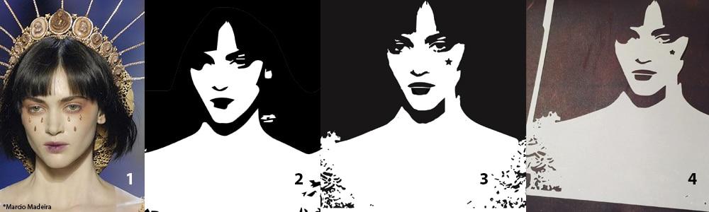 Stencil process from original photo to concept stencil