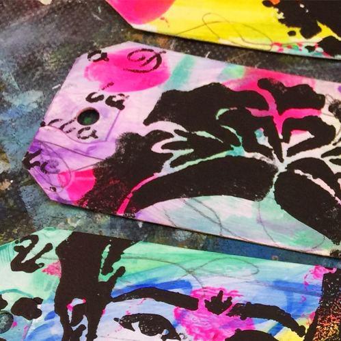 Stencil tag close up.
