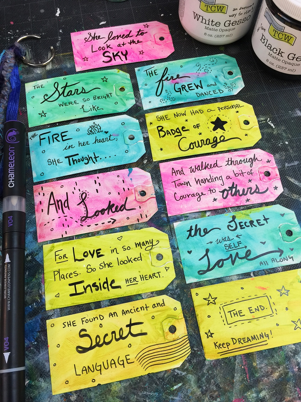 Story added to the back of my tags with hand lettering.