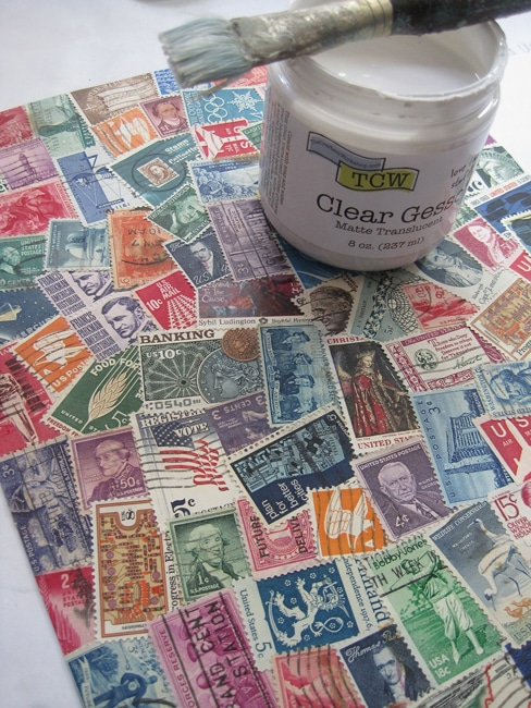 Coat background of stamps with TCW clear gesso Lefko