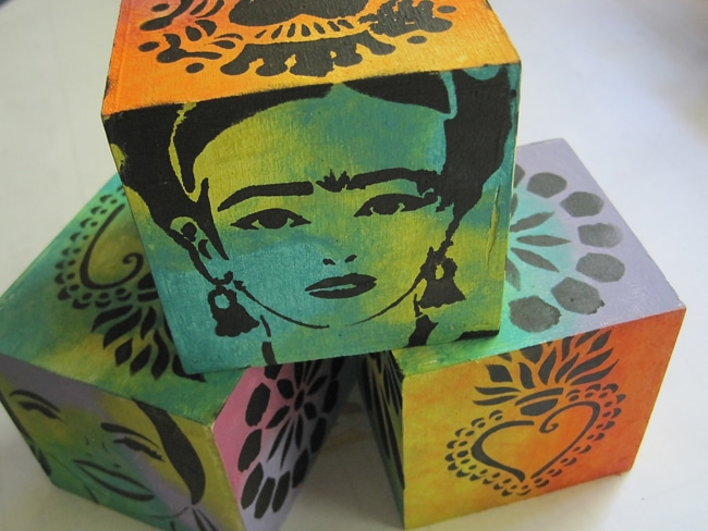TCW stencils on all sides of photo cubes Lefko