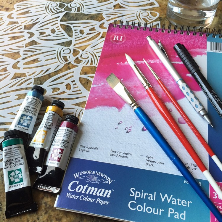 Art supplies: watercolors, brushes, stencil TCW594, Faber Castell Marker