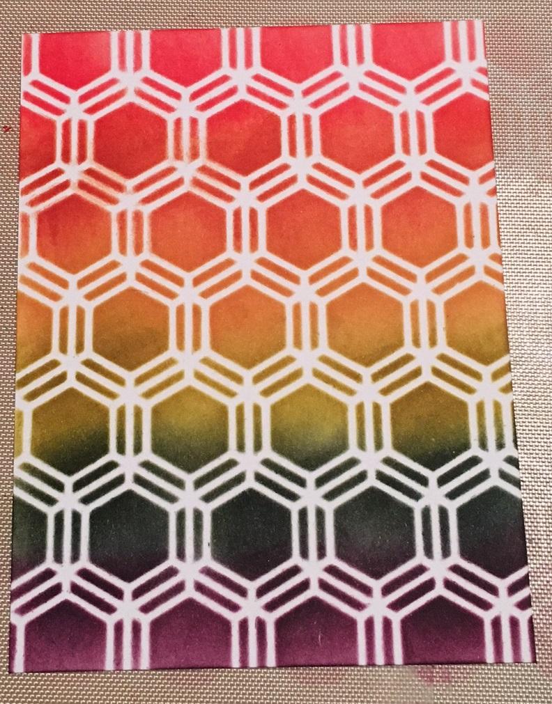 Kim Schofield, CAScard, Finished Stencil 2, TCW346 Honeycomb