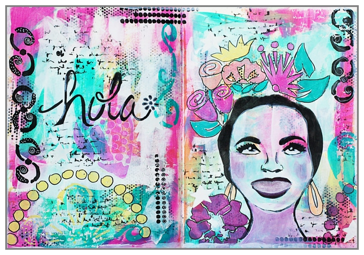 Yasmina's Art Journal using new summer 2016 stencils and acrylic paint