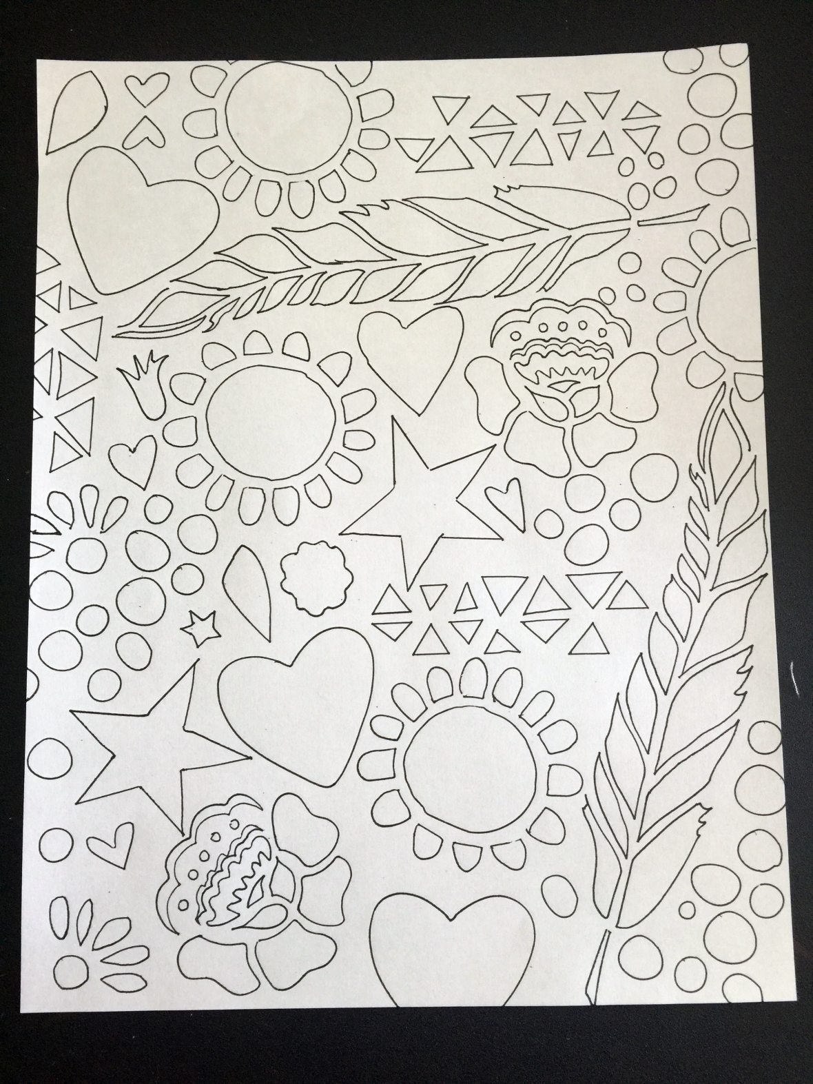 using stencils to create coloring page.