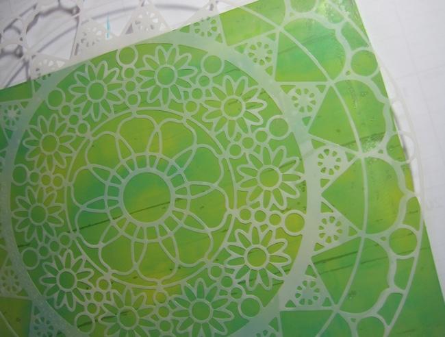 TCW644 stencil on gel plate LEFKO