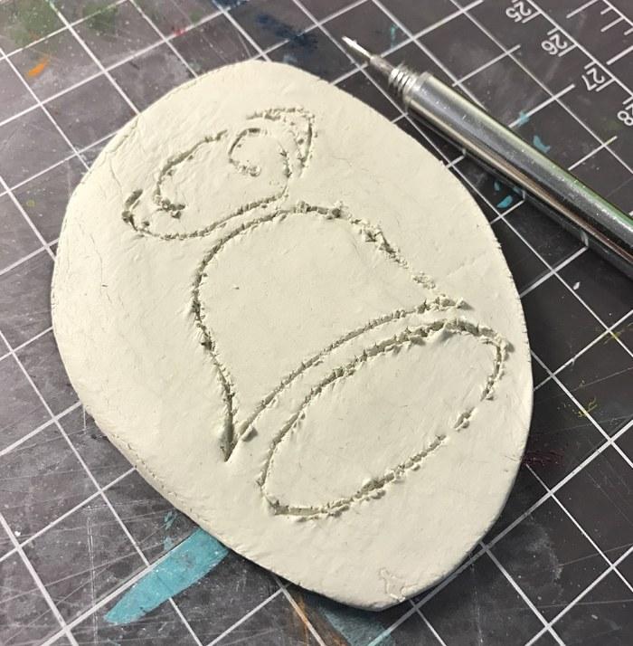 Stencil Traced in Clay