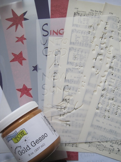 TCW655 and TCW2156 gold gesso and sheet music LEFKO