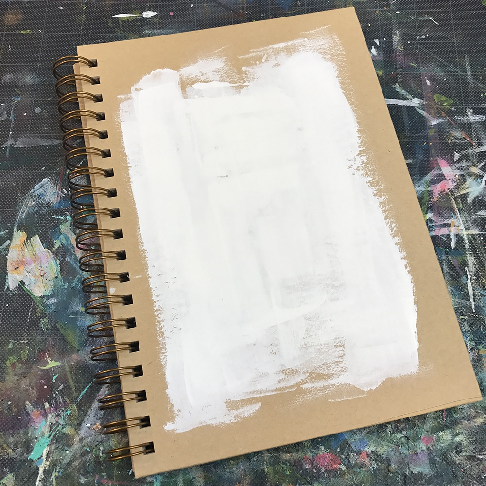 White Gesso applied to the blank cover