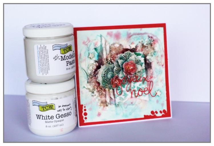 Mixed Media Christmas card by Yasmina using TCW Mediums