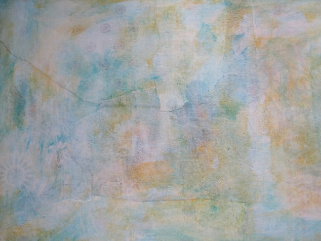 background with TCW white gesso, mustard and turquoise acrylic paint LEFKO
