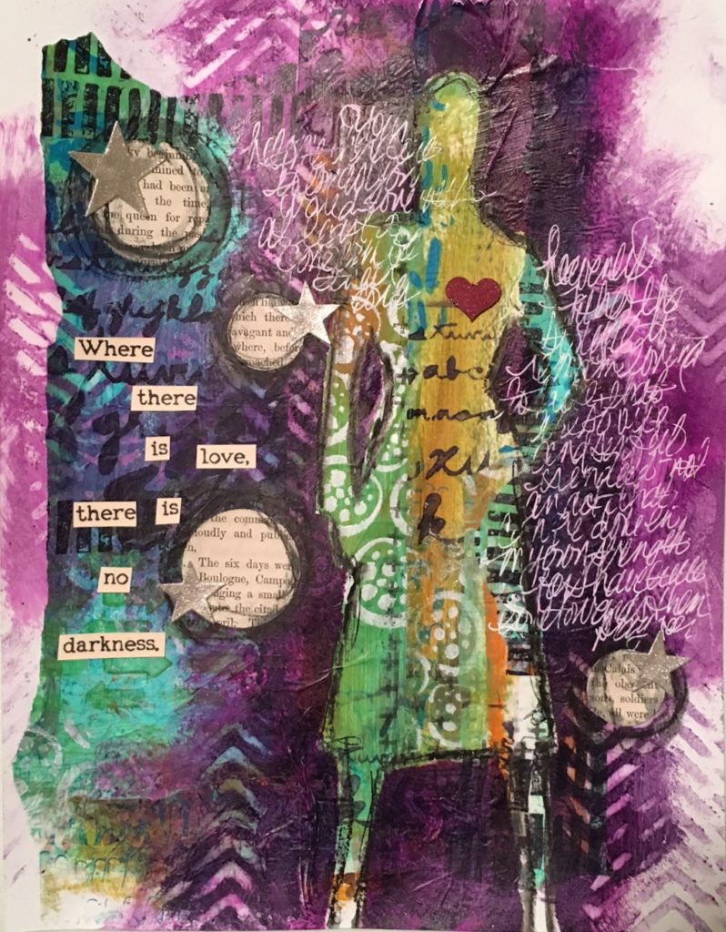 Kim Schofield, Art Journal, Love Wins, Sally and Carly Mask