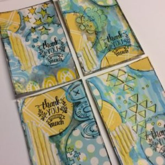 thank you cards created with canvascorp substrates and TCW stencil, TCW687, Positivity, designed by ART BY MARLENE