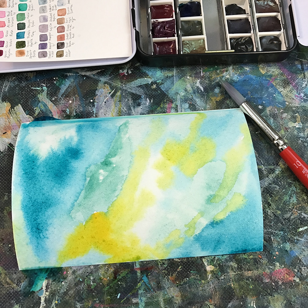 creating a watercolor background with color