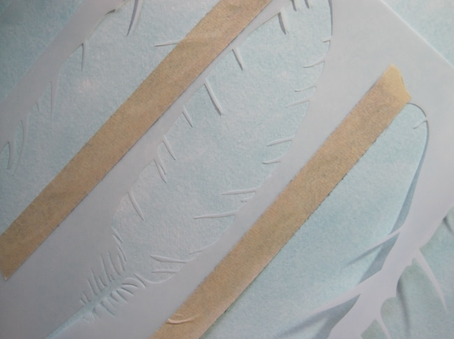 TCW716 feather stencil with TCW clear gesso LEFKO