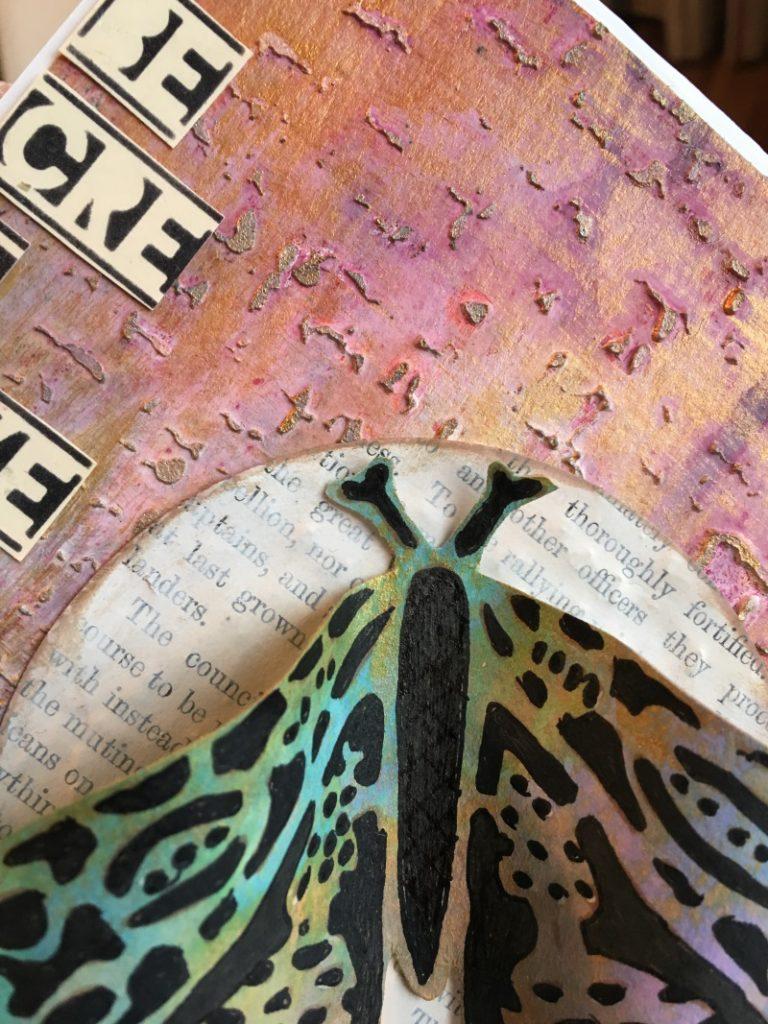 Kim Schofield, Folkart Moths, Butterfly, Mixed Media Card, Close
