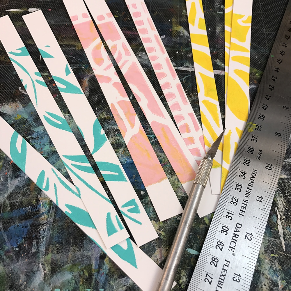 Spring colored strips of paper