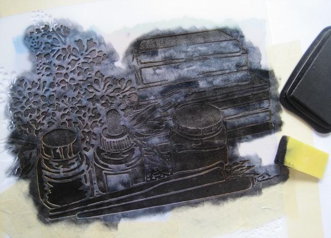 Apply Staz-On ink to TCW669 stencil design with foam applicator LEFKO
