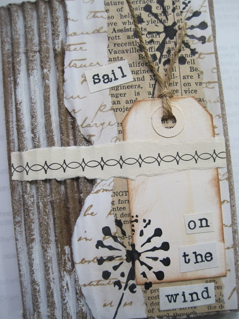 TCW701s stencil and collaged elements on journal page LEFKO