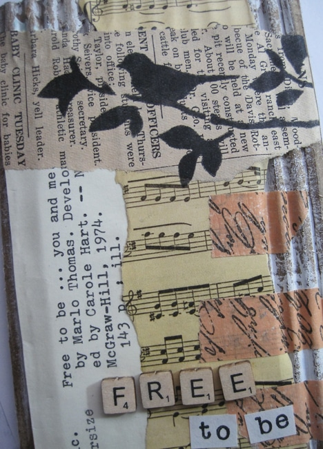 TCW713s stencil and collaged elements on journal page LEFKO